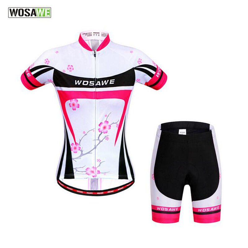 WOSAWE Cycling Set Summer Women Breathable Cycling Jersey+Cycling Shorts Bicycle Clothing Mountain Bike Tights Female Clothes 25 women s cycling shorts cycling mountain bike cycling equipment female spring autumn breathable wicking silicone skirt