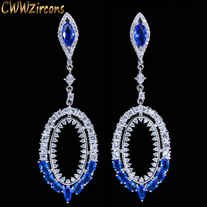 Earrings Cwwzircons Newest Long Big Drop Royal Blue Dangling Earrings For Women High Quality Cubic Zirconia Bridal Wedding Jewelry Cz050 Sales Of Quality Assurance