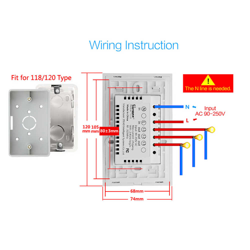 hight resolution of detail feedback questions about sonoff t1 us led glass smart switch wireless t1 diagram