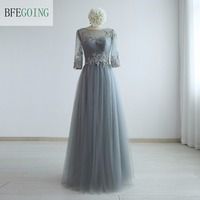 Grey Tulle Appliques A Line Formal Evening Dress Floor Length 3 4 Sleeves Scoop Beading Real
