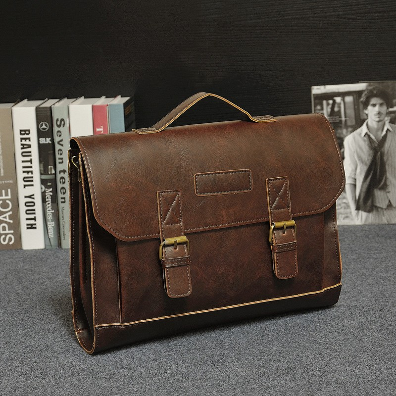 Vintage Men Business Real Genuine Leather Briefcase Travel Causal Shoulder Messenger Portfolio Laptop Bags Lawer Handbag Bolsa (5)