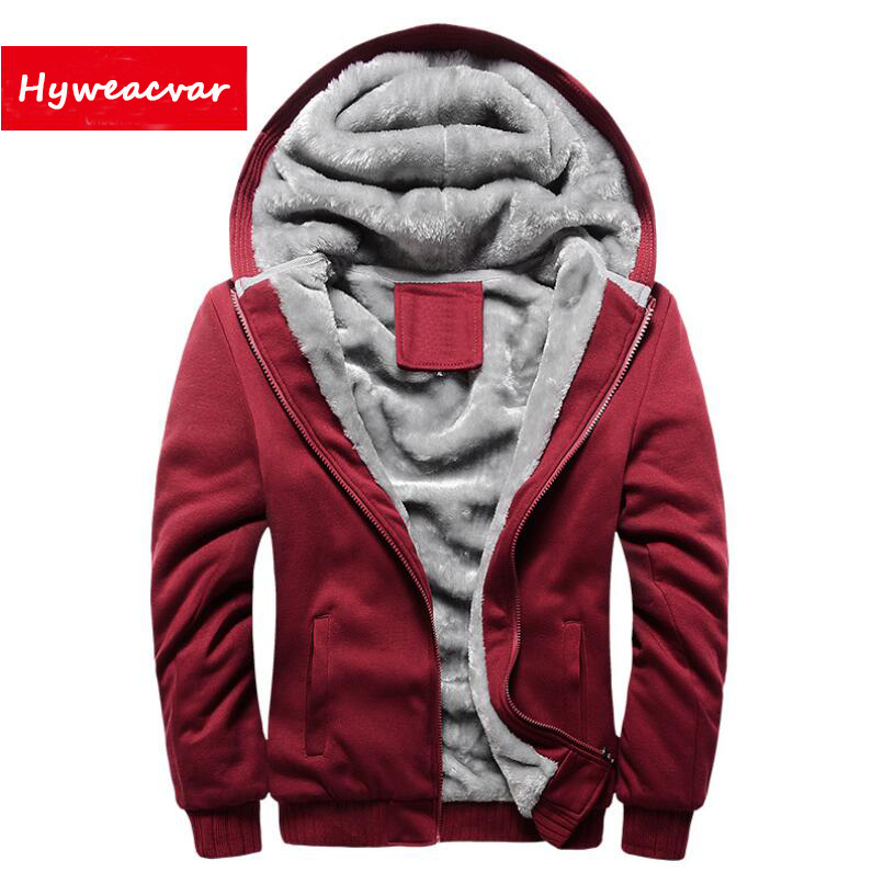 Hyweacvar Mens Autumn Winter Hooded Jacket Velvet Lining Hoodie Hoody Tracksuit Long-sleeve Sweatshirt