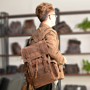 Image 3 - Retro Canvas Mens Backpack Travel Backpacks Tooling Locomotive Computer Bag Europe and The United States Large Capacity Leather