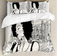 Афро Декор постельное белье Американский джазовой музыкой девушка выполнения в передней части Нью Йорк Манхэттен иллюстрация 4 шт. Постель