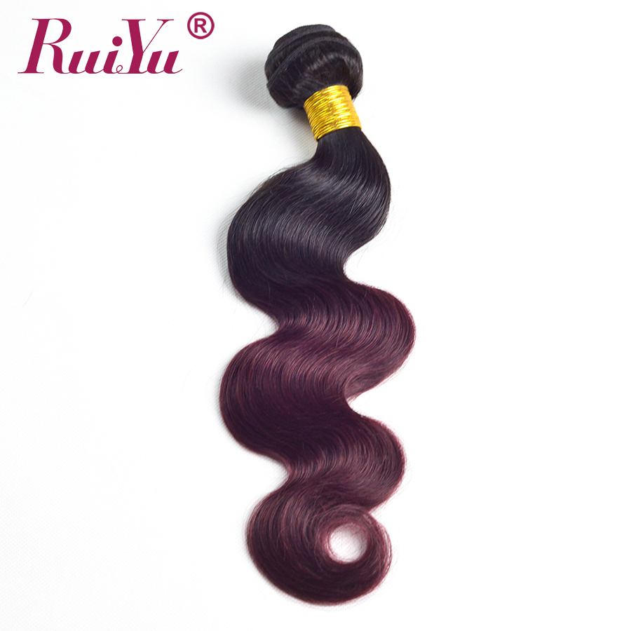 RUIYU Hair Ombre Brazilian Hair Bundles Body Wave 1b Burgundy Two Tone Ombre Human Hair Extensions Weave Bundles 99J Red NonRemy