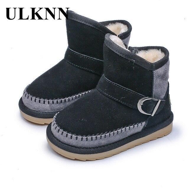 ULKNN 2018 Winter Girls Shoes Kids Baby Snow Boots For Boys Shoes Soft Warm  Plush Children Velvet Flat School Boots Toddle Black 458884a84485