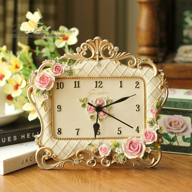 Mute Clock Frame Rose Resin Clock Creative Desk Clock Table Clock