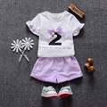 2016 new summer baby clothing set  O-neck Short Cotton  1 2 3 years old  girls suit  clothes A018