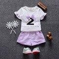 2016 novo roupas de bebê verão definir O-pescoço Curto de Algodão 1 2 3 anos de idade meninas roupas terno A018