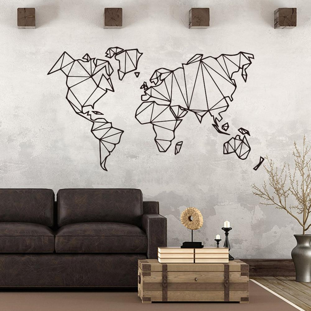 Art World Map Geometrica del vinile Autoadesivi Della Parete Per La  Decorazione Soggiorno Poster Camera Da Letto Della Decorazione di Arte  Murale ...