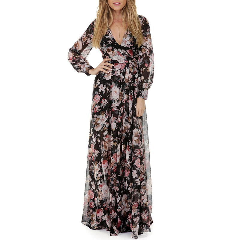 Women's Printing Dress Elegant V-Neck Floral Maxi Long Dress Party Dress For Female Hot Sale Women Fashion Long Sleeves
