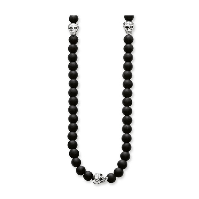 Black Obsidian Beads Silver Skulls Necklaces Thomas Style Vintage Silver Plated Chokers For Men Women TS Jewelry Gifts Collie