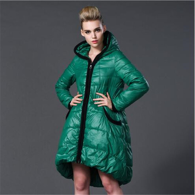 Euopean 2016 New Winter Women Jacket Big Yards Thicken A-line Down Coat Fashion Hooded Padded Jacket Coat Slim Long Parka A1894
