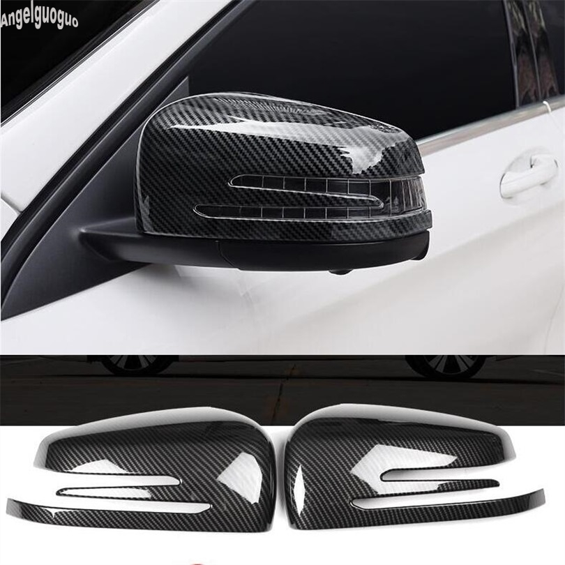ABS Krom/karbon fiber stil Mercedes Benz ML GL GLE GLS sınıfı ML350 400 et Araba dikiz aynası Dekorasyon kabuk Kapak Trim