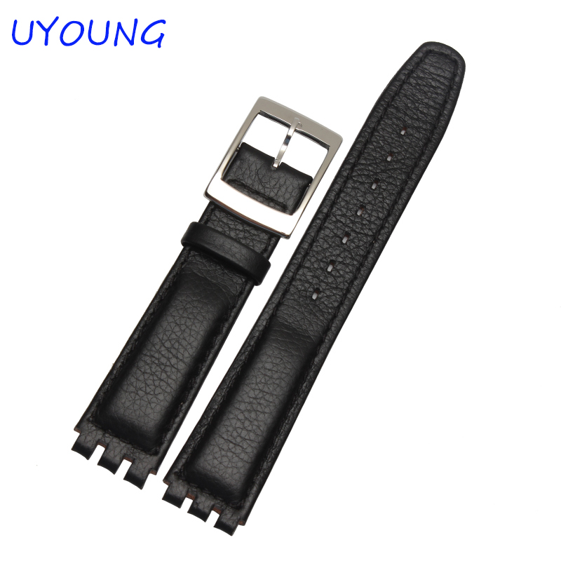 High Quality 17mm 19mm Waterproof Genuine Leather Watch Strap Band For Swatch Croco Pattern Black Brown White eache silicone watch band strap replacement watch band can fit for swatch 17mm 19mm men women