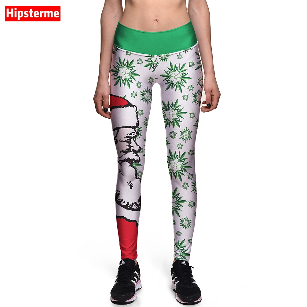Hipsterme Leggings New Brand Fashion Merry Christma Fresh Man Snow Hat Print Pants High Waist Jeggings Workout Clothes For Women