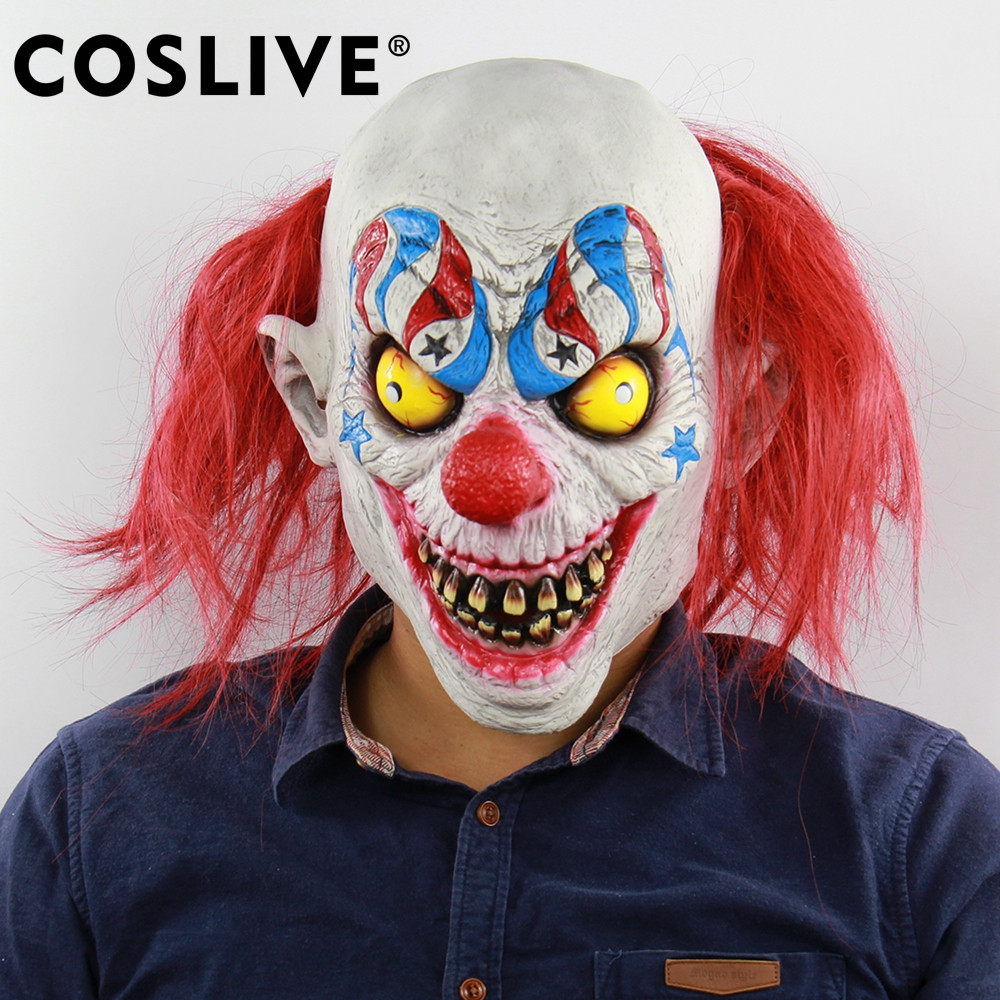 Coslive Christmas Sale Latex Mask Circus Horror Red Nose Clown Mask Full Head Face Masks Holiday Party Cosplay Costume Props