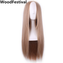 WoodFestival harajuku wig cosplay carve long blonde wig straight women wigs natural hair heat resistant synthetic wigs with part