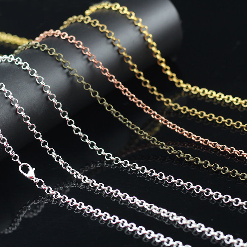 4PCS  3mm 80cm O-cable Necklace Chain Clasp For Jewelry Findings Gold Silver Color Cable Chain Diy Necklace Jewelry