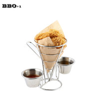 1pcs Fried Food Basket Holder Chip Rack Food Cone Holder with 2 Stainless Steel Sauce Cups holder Great Kitchen Restaurant