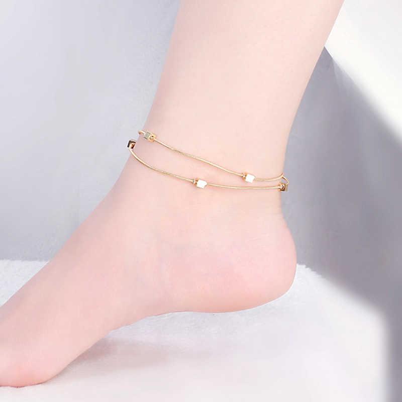 Модные, пикантные золотые пляжные браслеты на ногу квадратные металлические браслет на ногу украшения для Для женщин цветок ножной браслет на ногу нигде не выцветает