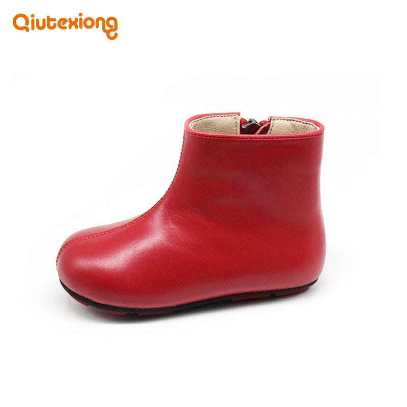 Fashion School Girls Rain Boots Zipper Genuine Leather Antiskid Flats Kids Shoes Round Toe Casual Zapatos Ninas Ankle Botas front lace up casual ankle boots autumn vintage brown new booties flat genuine leather suede shoes round toe fall female fashion