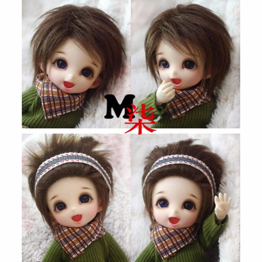 Dark Brown Short Wool Wig/Hair 1/8 PUKIFEE AE LATI BJD Dollfie 14cm ...