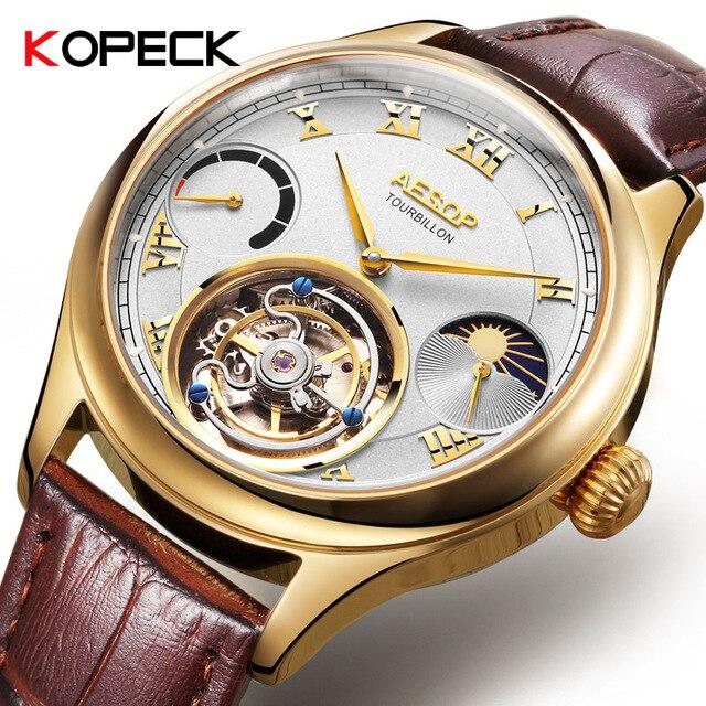 Часы мужские, высококлассные, с застежкой, Tourbillon, многофункциональные, механические, 7001