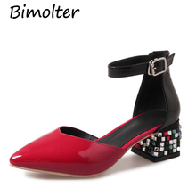 Bimolter Cow Leather New Ankle Strap Shoes comfortable womens sandals fashion Casual Dress shoes Pointed Toe Thick Heels NB059