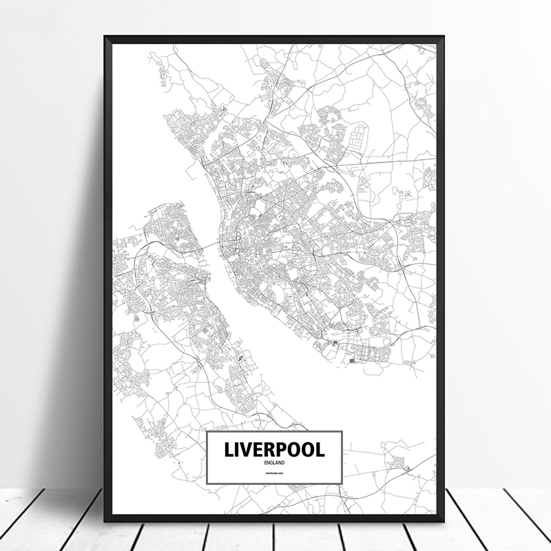 US $9.58 20% OFF|Liverpool, England Black White Custom World City Map  Poster Canvas Print Nordic Style Wall Art Home Decor-in Painting &  Calligraphy ...