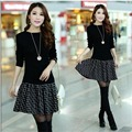 Autumn and winter new women 's large - size dress sweater  fashion fake two - piece dress
