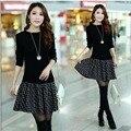 Outono e inverno das mulheres novas do grande-tamanho do vestido camisola moda falsos two-piece vestido