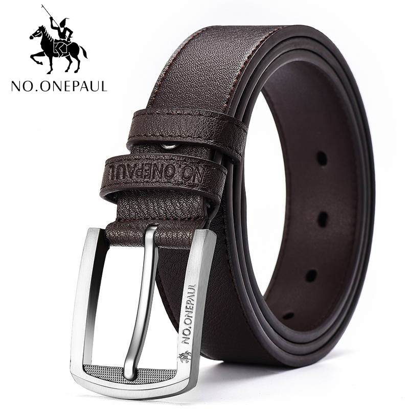 NO.ONEPAUL fashionable Genuine Leather mens   belts   pin buckle branded   belts   for men genuine leather   belt   pants ceinture homme