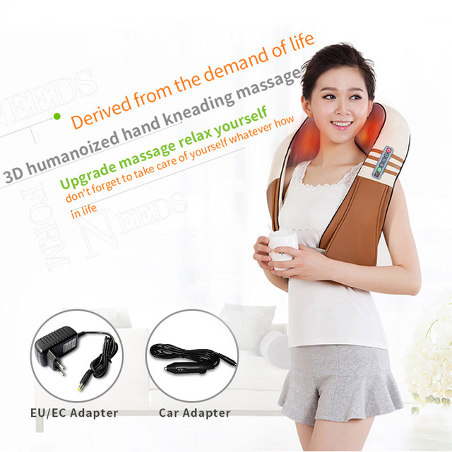 (with Gift Box)JinKaiRui U Shape Electrical Shiatsu Back Neck Shoulder Body Massager Infrared Heated Kneading Car/Home Massagem 3