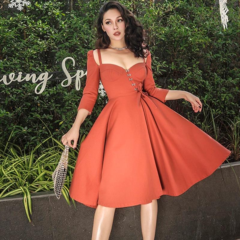 Kadın Giyim'ten Elbiseler'de Le palais vintage Şık Kabak Renk Korse Tipi Balo Elbise Ince Yüksek Rise Heyecan Pamuklu Göğüs Pedi 2019 Yaz'da  Grup 3