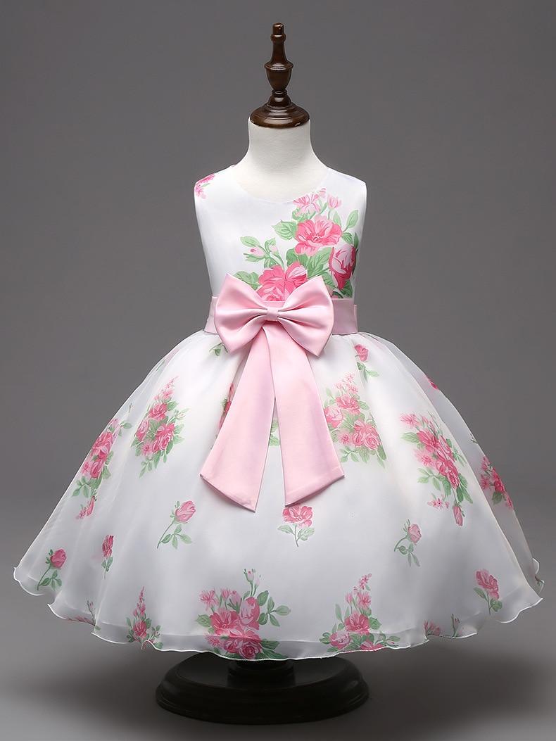 ФОТО New 2016 Girls Summer Dress Rose Floral Tribute Silk Kids Dresses for Girls Birthday Party Size vestidos infantis