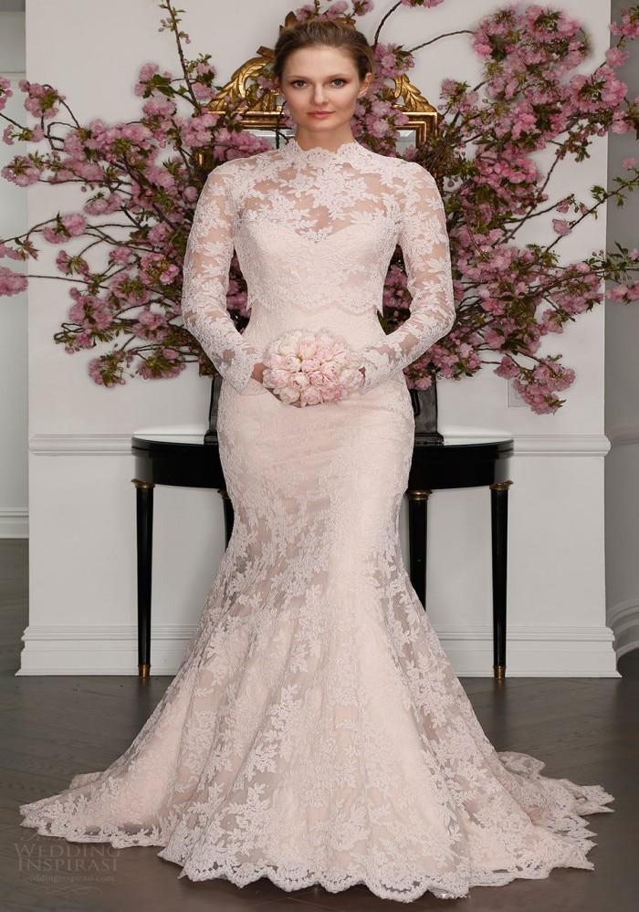 Vestido de noiva 2017 high neck lace long sleeve mermaid for Long sleeve mermaid wedding dresses 2017