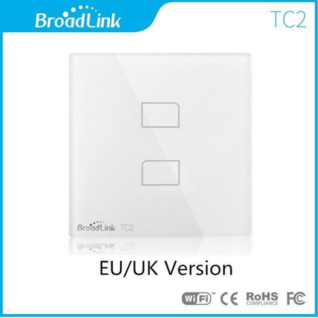 Eu/uk padrão broadlink tc2 2 gangue wi-fi levou interruptores de luz de controle remoto de automação residencial inteligente interruptor de parede wi-fi painel de toque