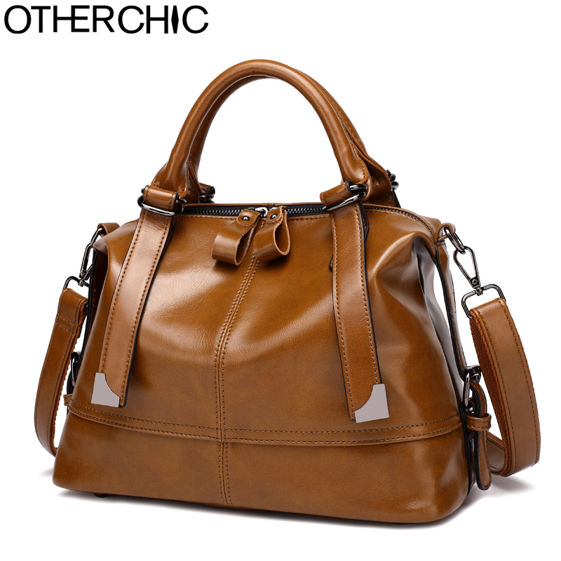 Фото OTHERCHIC Vintage Women Designer Handbags All Match Wax Leather Boston Bag Fashion Solid Women Shoulder Messenger Bags L-7N08-62