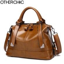 OTHERCHIC Vintage Frauen Designer Handtaschen Alle Spiel Wachs Leder Boston Bag Fashion Solid Frauen Schulter Messenger Bags L-7N08-62