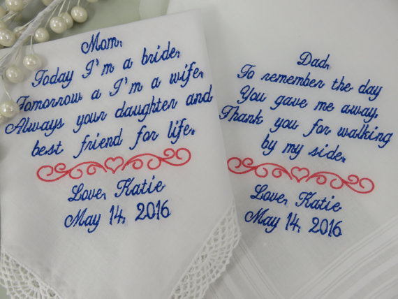 embroidered handkerchiefs wedding father personalized set of embroidered wedding handkerchiefs mom and dad parents love the bride or