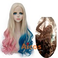 Aicos Movie Batman Suicide Squad Harleen Quinzel Harley Quinn Cosplay Wig Styled Curly Synthetic  lace front wig +free comb