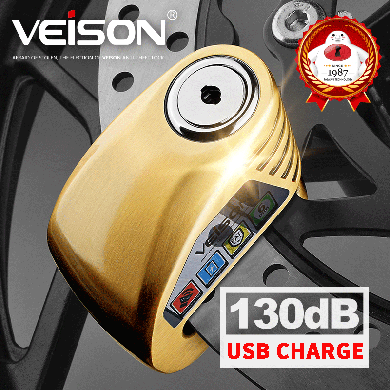 VEISON Motorbike Waterproof USB Charge Anti-theft 130dB Alarm Lock Motorcycle/Bike Disc Security Warning Lock 6mm Pin Brake Lock