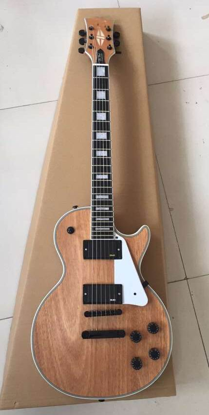 Wholesale Guitar New Arrival LP Custom Electric Guitar Ebony Fingerboard Top Quality In Natural Wooden 160920 new arrival 6 string classic acoustic electric guitar top quality in orange 110508