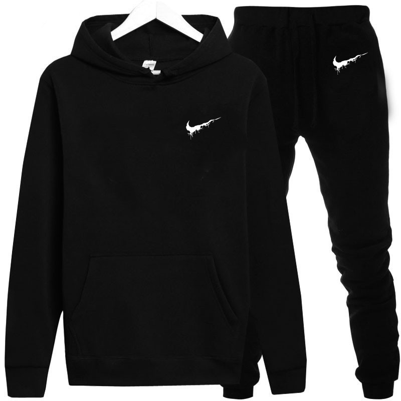 New 2019 Brand Tracksuit Men Thermal Mens Sportswear Sets Thick Fleece Hoodie + Pants Sports Suit Casual Sweatshirts Sport Suit
