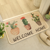Dirtproof PVC Doormat Pastoral Style Flowers Prints Floor Mat Hallway Welcome Mat Anti Slip Bathroom/Kitchen Mat Bedroom Rugs