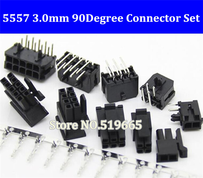 50Set 5557 Connector 3.0mm 2/4/6/8/10/<font><b>12</b></font>/14/<font><b>16</b></font>/18/20/22/24P Right Angle Black PCB Wire Soldered ( <font><b>Pin</b></font> Header+Housing+Terminals ) image