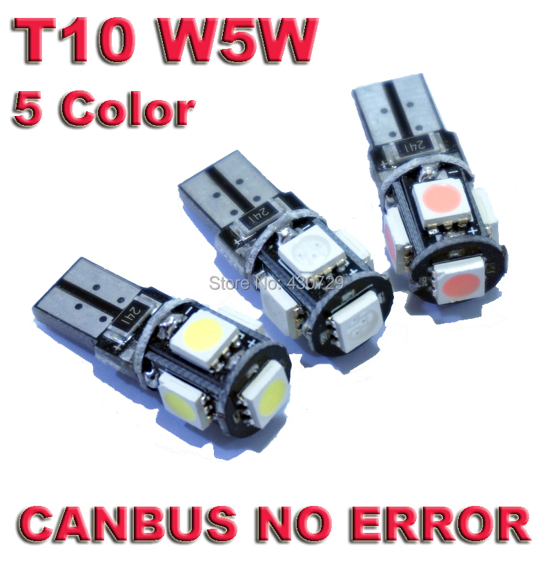 10pcs/lot T10 5 smd 5050 led Canbus Error Free Car Lights W5W 194 5SMD LIGHT BULBS NO OBC ERROR White Clearance Lights new t10 6 smd 5050 194 w5w 501 led car light colourful led canbus error interior light bulb remote control dc 12v