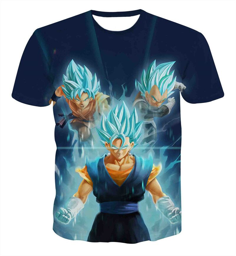 2018 New Fashion Summer T-shirt Men Short Sleeve Anime Dragon Ball T Shirt Homme 3D Vegeta Super Saiya Printed Tee Shirt Homme