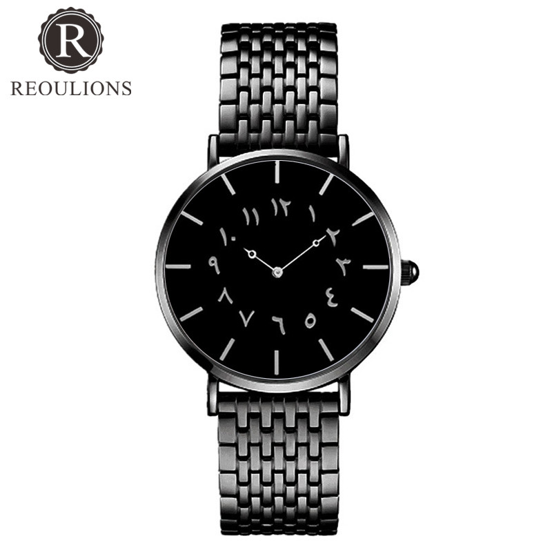REOULIONS Top Luksus Brand New Arabic Numbers Watch Fashion Steel - Dameure - Foto 3